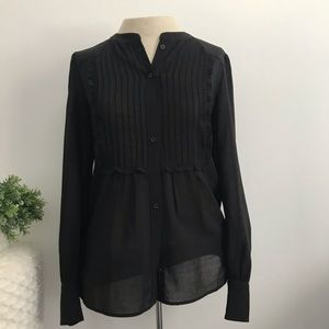 J.Crew black ruffle pinttuck poly blouse